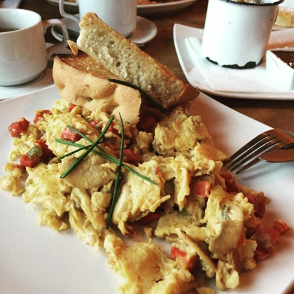 The chorizo scrambler, served with focaccia